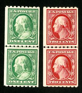 US-Stamps-390-1-XF-Line-pairs-OG-LH-Scott-Value-295-00