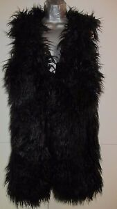 REALTY-Woman-Black-Faux-Fur-West-Coat-Size-S-M-good-condition