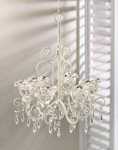 White SHABBY HANGING CRYSTAL CHANDELIER CANDLE HOLDER garden party terrace lamp
