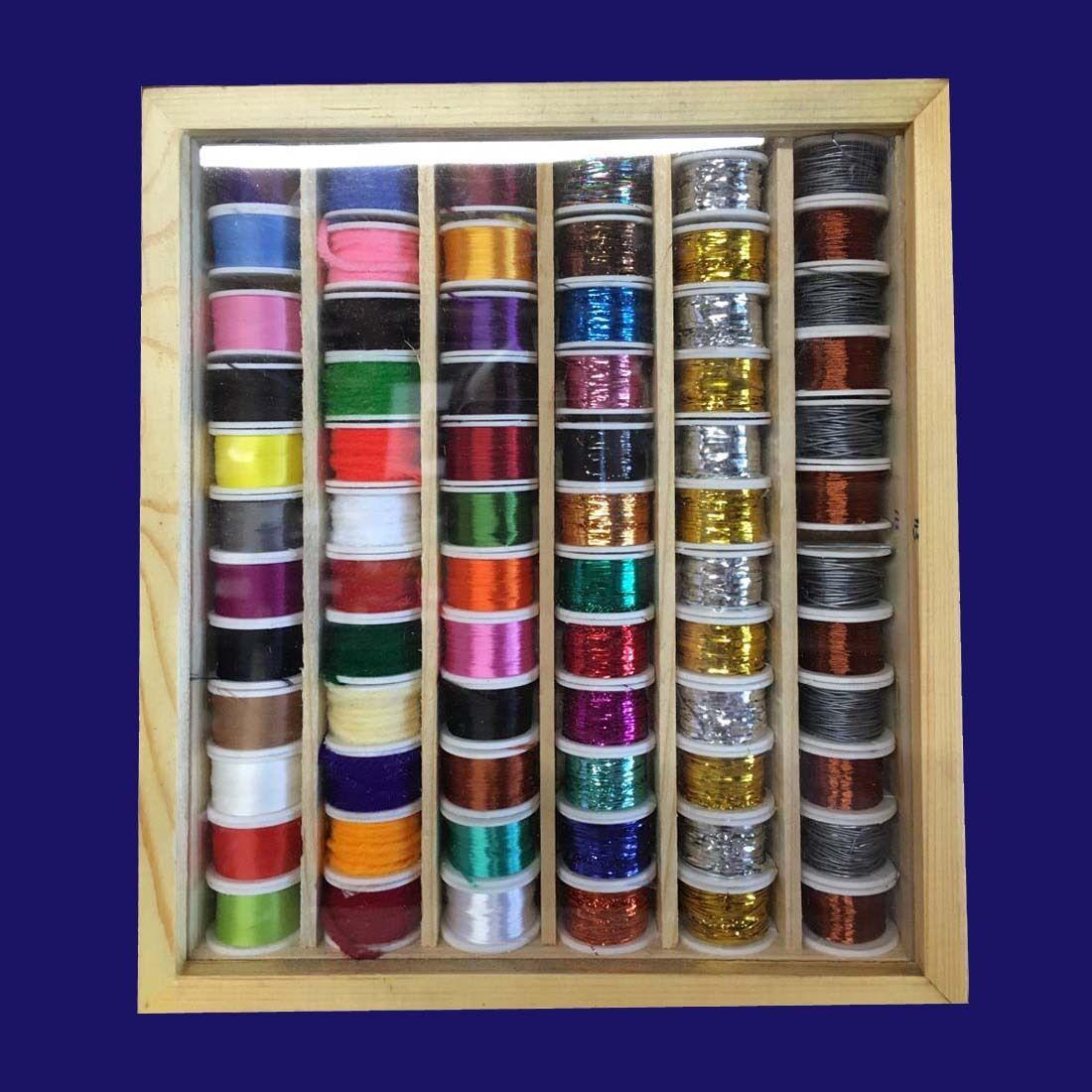 72 Spule Von Gewinde Zahnseide Tinsel Wolle in in Holzkiste Fliegenbinden