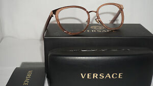 5a5238e7048 Image is loading VERSACE-RX-Eyeglasses-New-Transparent-Brown-VE1249-1412-