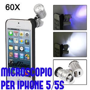 MICROSCOPIO 60 INGRANDIMENTI IPHONE 5 5S COVER CASE LED NUMISMATICA ELETTRONICA