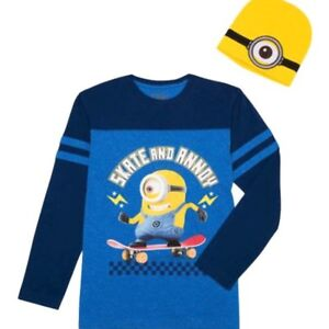 NEW Boys Large 10-12 Despicable Me Minions Long Sleeve T-Shirt /& Beanie Hat