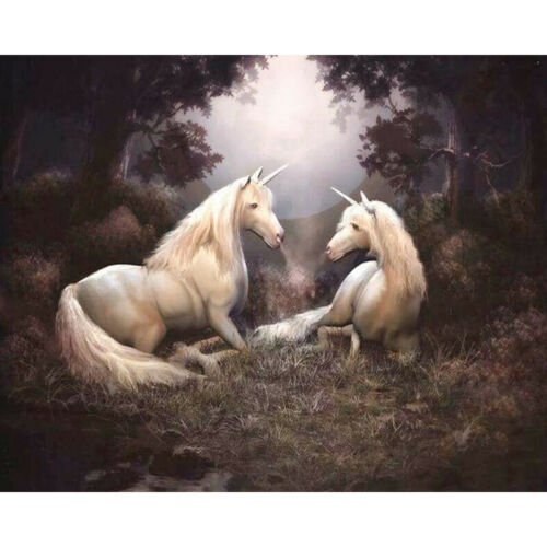 Full Drill Diamond Painting Kit Like Cross Stitch Unicorns in the Forest ZY251H