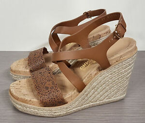 8507e5d4a8bb Image is loading Salvatore-Ferragamo-039-Gioela-039-Brown-Leather-Wedge-