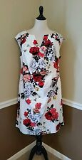 Modcloth Dress 20 Scholars' Soiree White Red Roses Floral Sheath Adrianna Papell