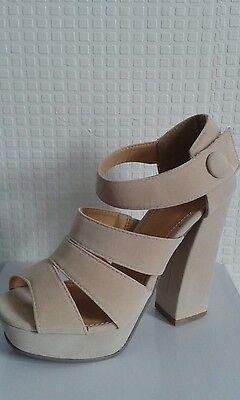 Señoras Mujeres Verano Sandalia Zapato De Gamuza Crema Con Tiras Cuña Tacón Reino Unido Talla 4