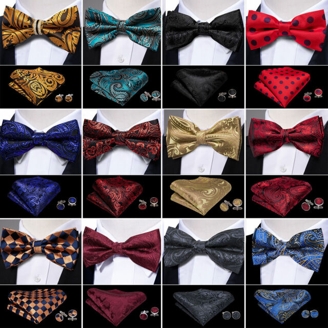 50 Pattern Men Pretied Bow tie Silk Red Blue Black Pink Solid Paisley BowTie Set
