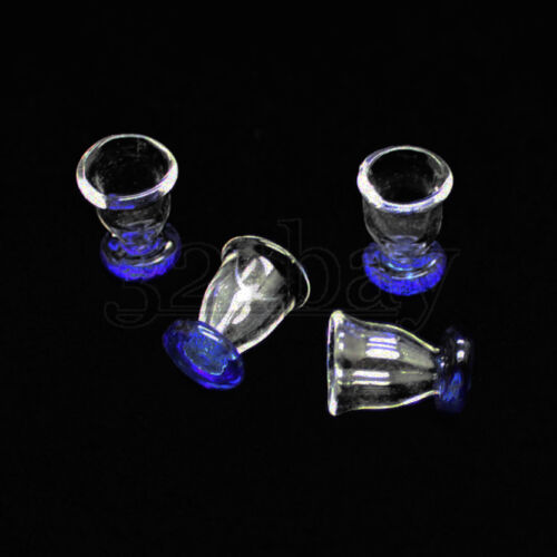 4pcs Dollhouse Glass Glasses with blue Base Dollhouse scale 1to12 1:12 Glassware