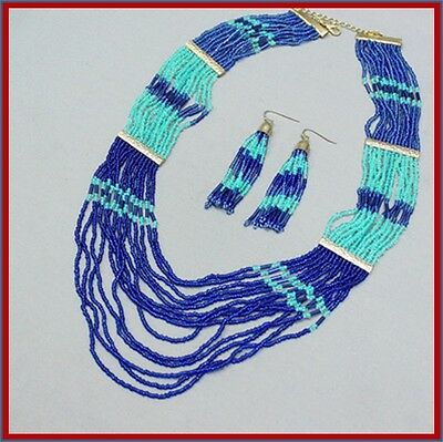 "22"" Turquoise Royal Blue Goldtone Multi Strand Seed Bead Necklace Earrings Set"