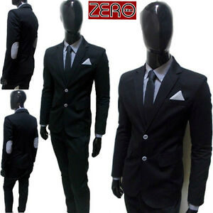 Pantalone 48 50 Abito Nero Giacca 44 vestito Pochette Uomo Toppe Slim 46 w4ZvEq