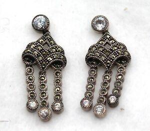 Stamped 925 JJ 0.5\u201d huggie 925 hoops with marcasite vintage Judith Jack Sterling silver handmade earrings