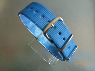 "Uhrenarmband Nylon 20 mm blau /""hellblau/""NATOBAND Dornschließe Textil"