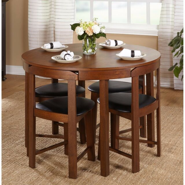 Round Dining Table Set For 4 With Chairs Walnut Wood Kitchen Dinette