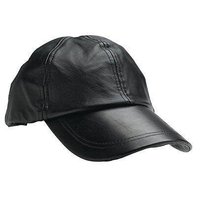 New Solid Black Leather Baseball Cap Mens Womens Adjustable Motorcycle Biker Hat