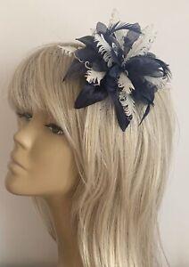 Races Ladies New Design CreamNavy Blue Hair Flower CurlyFeathers Fascinator Headpiece Comb Bridesmaids Weddings Mother Of The Bride