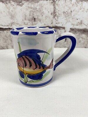 Vietri Al Mare Coffee Tea Mug Fish White Blue Hand Painted Italy Ebay