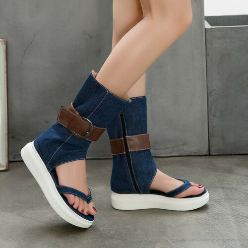 Women's Gladiator Beach Buckle Holiday Flats Sandals Roman Clip Toe Boots Shoes