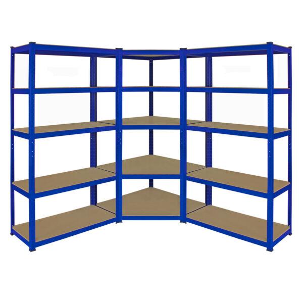 1 X Corner Racking Garage Shelving 2 X 90cm Bays Metal Heavy Duty Mdf Shelves