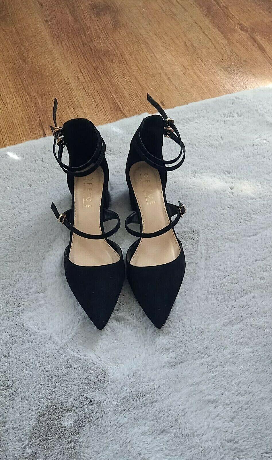Size 6/39 black strappy heels, closed heel & toe. By Office London. S6