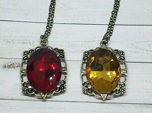 Necklace Set Ruby Pendant /& Chain The Vampire Diaries Bonnie Bennett  Amber