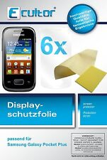 6x Samsung Galaxy Pocket Plus Schutzfolie klar Displayschutzfolie Folie Ecultor