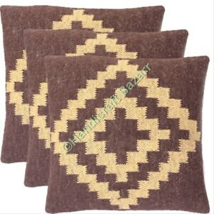 3-Pcs-Pillow-Outdoor-Wool-Jute-Handwoven-Traditional-Pattern-Vintage-Cushion-Cov