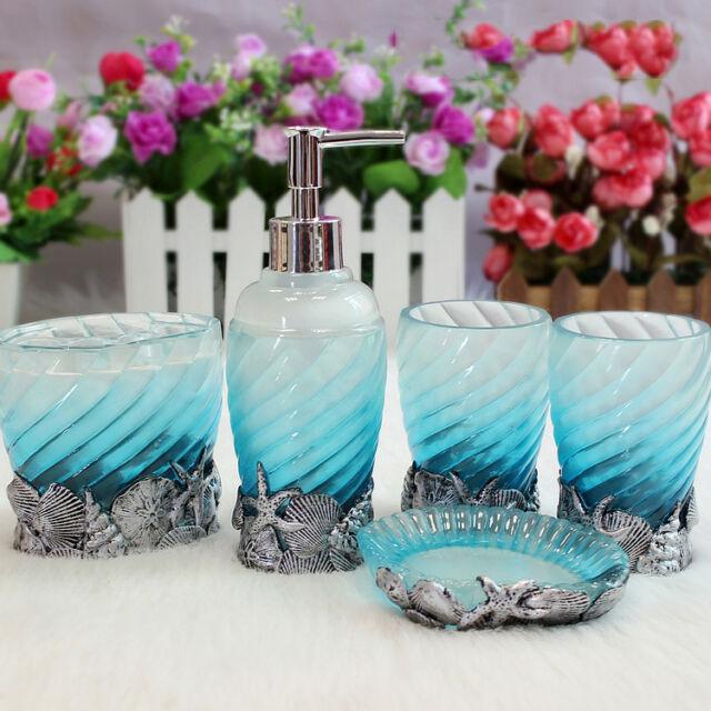 Chromalight Ocean Blue 5pcs Resin Accessory Bath Bathroom Accessories Set