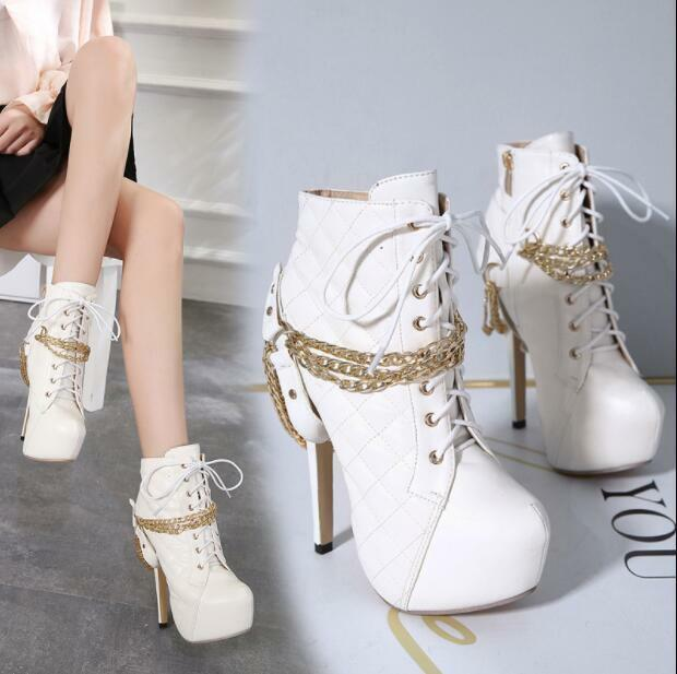 femmes Round Toe Metal Chain High Heels Platform Punk Ankle bottes Fashion E131