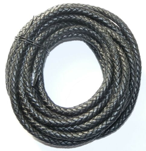 8MM THICK BRAIDED COWHIDE LEATHER CORD TOP QUALITY BLACK OR BROWN OR NATURAL