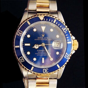 Mens-Rolex-Submariner-Date-18k-Yellow-Gold-amp-Steel-Watch-Blue-Dial-Bezel-16613