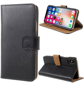 iPhone-XS-X-10-Genuine-Leather-Wallet-Folio-Card-Case-Cover-Screen-Protector
