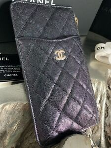 7d89fc3e Details about NWT CHANEL 19S Iridescent Black Caviar Phone Holder Wallet  O-Case Pouch 2019 NEW