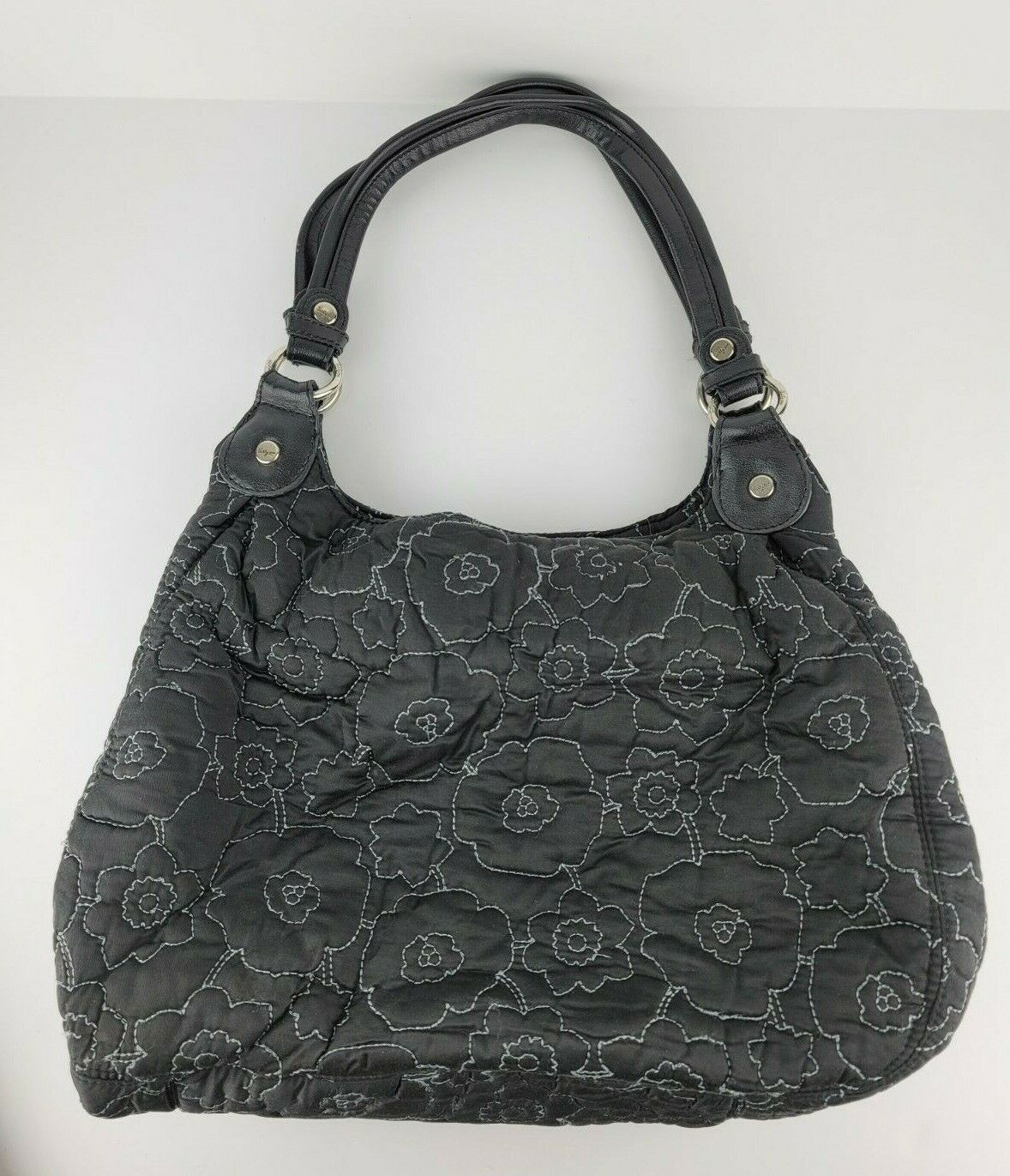 Thirty One Quilted Black Floral Triple Compartment Large Satchel Bag Purse