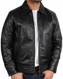 Mens-Leather-Biker-Jacket-harrington-New-with-Tags-100-Real-Leather-Bomber-S-5X