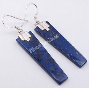 """925 Argent Massif Lapis Lazuli éblouissant De Pierres Plates Boucles D'oreilles 2.1"""" Nouveau Bijoux-afficher Le Titre D'origine Larges VariéTéS"""