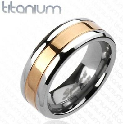 New Solid Titanium Men's Rose Gold IP Striped 8mm Band Ring Size 9-13 (MT3426)