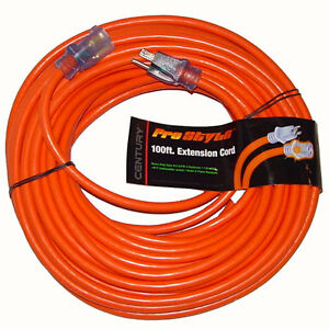 100 Ft Heavy Duty Electric Extension Power Cord 12 Gauge