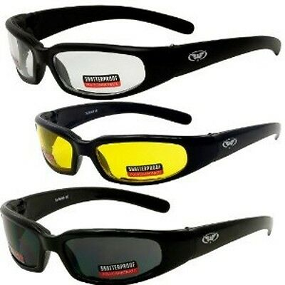 MOTORCYCLE RIDING GLASSES 3 DAY & NIGHT PADDED CLEAR SMOKE Yellow Sunglasses