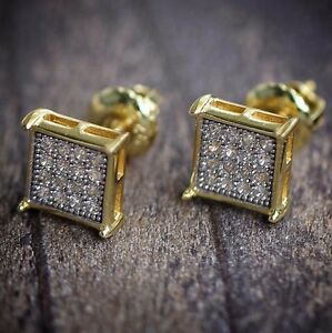 round gold o earrings screw back stud diamond shaped square yellow