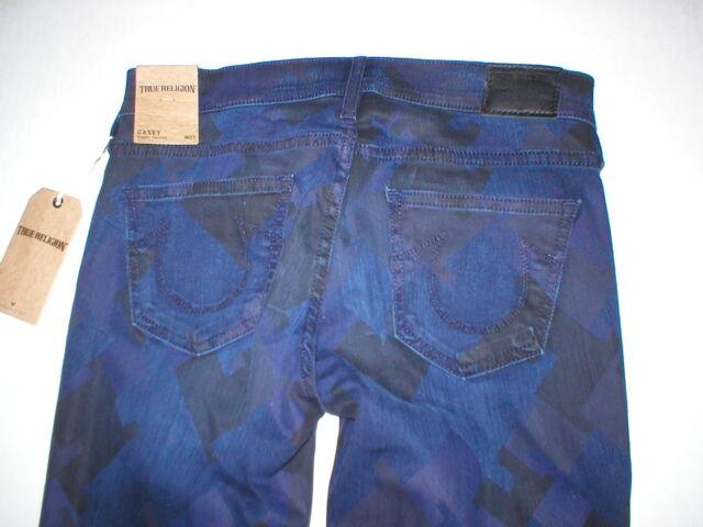 1aaf514a1 New Womens 29 True Religion Brand Jeans NWT Casey Skinny Blue Dark  Houndstooth