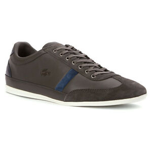 f80ac4652ff7aa NWT LACOSTE MENS MISANO 33 LEATHER SHOES DARK GREY SNEAKERS SIZE 7 ...