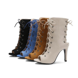 Women-Summer-Boots-Pumps-Peep-Toe-Slim-Heel-Lace-up-Concise-Gladiator-Sandals
