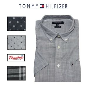 CLEARANCE-SALE-NWT-Tommy-Hilfiger-Men-039-s-Classic-Fit-Short-Sleeve-Woven-Shirt