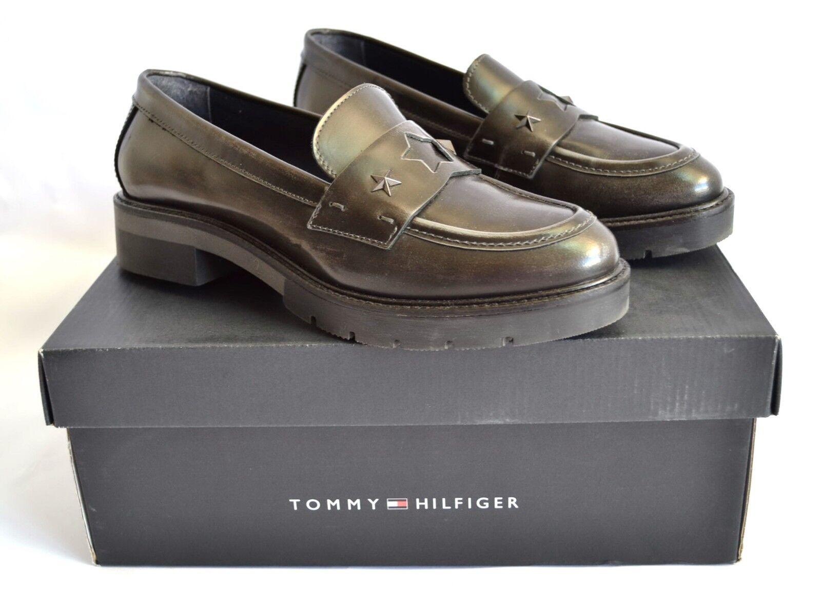 TOMMY HILFIGER LUXUS LOAFER SLIPPER SCHUHE Schuhe LEDER robust Gr 38 NP  NEU
