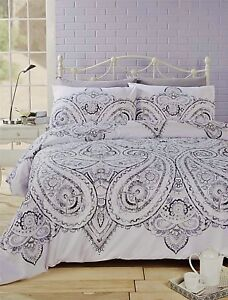 Rhf Paisley White Floral Duvet Cover Black Grey Bedding Single