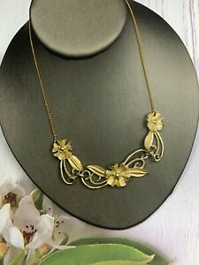 "Women's Ladies Vintage gold Tone 1950's Flower Link Necklace 14"" Chain"