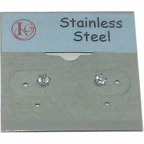 FE008 Stainless Steel 3mm CZ Stud Earrings