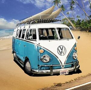 Vw-Camper-Van-Stretched-Canvas-Wall-Art-Poster-Print-Beach-Surfing-Beetle-Car