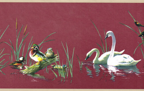 BEAUTIFUL SWANS WOOD DUCKS CANADA GEESE CATTAILS COUNTRY Wallpaper Wall bordeR